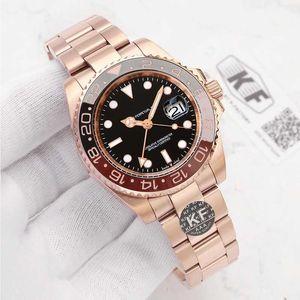 Brand New Sapphire Gmt Luxury Designer Mens Rose Gold Fashion Mechanical Automatic Movement Black Blue Ceramic Bezel Watches