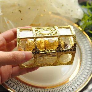 30PCS Top Grade Tamanho Grande Treasure Box Ouro Transparente chuveiro de plástico do presente de casamento Boxes Candy Baby Box Caixa de jóias