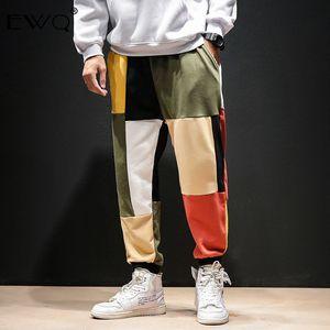 EWQ / Patchwork Colore Harem uomini 2020 Mens Streetwear Pantaloni Pantaloni Casual Uomo primavera Vintage Cotton Sweatpants Tide 9A379
