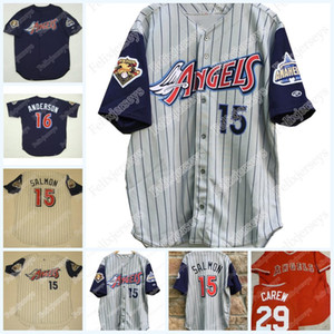 Stitched 15 2001 Anaheim Rawlings 100 Seasons Mike Trota Garret Anderson Joe Mauer Rod Carew Vintage Baseball Jersey