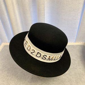 Ala ancha de las mujeres de Fedora del fieltro del sombrero 100% fieltro de lana sombrero de Panamá con el oro caliente Carta de las correas