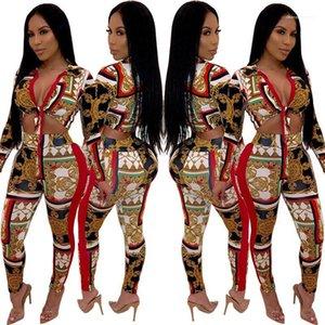 Womens Dois Pants Pedaço MULIT Imprimir Womens Dois conjuntos de peças Sexy Skiny V Neck Dois Pants Pedaço Bow Tie Moda