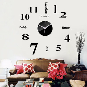 DIY Creative 3D Wall Clock Acrylic Decorative Kitchen Wall Clocks Living Room Dining Home Decor wallclock Stickers F522