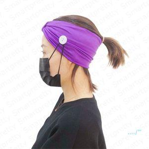 Mulheres Meninas Headband de máscara na moda Sólido Esporte Cor Gym Knit Faixa de Cabelo capa com o botão auriculares com atenuação Yoga Wearable Absorvendo Hairlace E4911