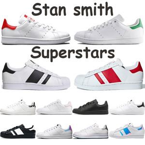 Pas cher stan smith chaussures pour hommes occasionnels blanc luxuriante vert zèbre noir argent métallique rouge Glod nuage coeur blanc noir superstars rose baskets