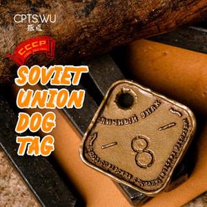 CPTS.WU Union Soviétique Dog Tag Keychain CCCP Armée Porte-clé en métal voiture Balises pour hommes cadeau Brass main Pendentif Classy