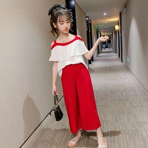 2020 2020 Summer New Girls Costume robe d'été en mousseline de soie une épaule jambe large 9 Pantalon Pointe super coréen des Affaires étrangères Deux Set Piece De Bosij FEwY #