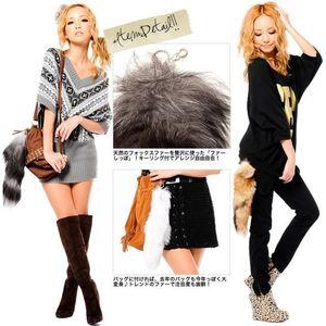 New Black Key Keyring Three Ring Yellow Bag Tag Tail Fur Fox Charm White Hot Fashion Chain Colors Keychain Fexnp