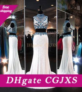 Ivory Two Piece Lace Prom Dresses 2019 High Neck Bling Turquoise Crystal Beaded Sweep Train Formal Evening Gowns New Arrival Fashion