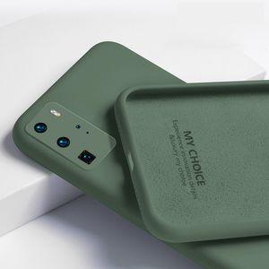 Téléphone cas pour Huawei P40 P30 P20 Lite Maté 30 20 Pro Liquid Silicon Cover originale de luxe pour Huawei Nova 5T 6 SE Y9 Prime 2019