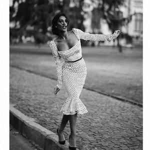 automne polka femmes noires à manches longues dot bureau mince avec une robe en queue de poisson collier de mot (sans ceinture) Y200103 collr fishtil o IGXS #