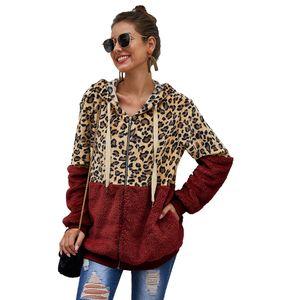 Mulheres Moda Jacket New chegada Zip Frente Leopard Colorblock jaqueta corta-vento 20FW Contraste casaco de cor Tamanho S M L XL 2XL
