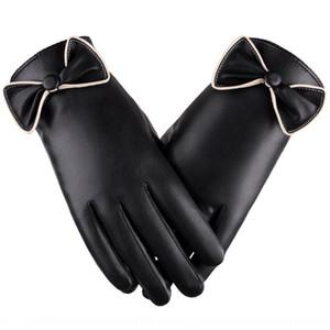 inverno delle donne all'aperto tocco vellutato schermo caldo guida auto elettrica PU guanti di cuoio caldo electrombile guanti