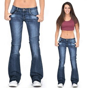 Vintage Low Waist Jeans Frau Flare Jeans Blau Enge Jeans Mom Jeans plus Größe 4XL Female Hose mit weitem Bein