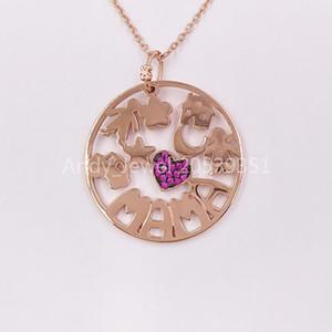 Аутентичные 925 стерлингового серебра подвески Медведь Мама ожерелье из розового золота Позолота с рубин и черный шнур FITS Европейский медведь ювелирные изделия Стиль Gif