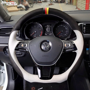 Shining wheat Hand-stitched Steering Wheel Cover for Volkswagen VW Golf 7 Mk7 New Polo Jetta Passat B8