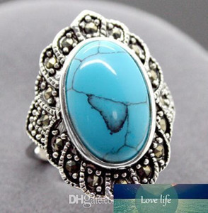 Mode Natürliches Tibetan Turquoise 925 Sterlingsilber-Ring-Schmuck Size7 8 9