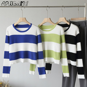 Ashgaily Stripe Sweaters Cropped Knit Crop Tops Women 2020 Hot Casual Wild Pullover Sweater Long Sleeve Tops