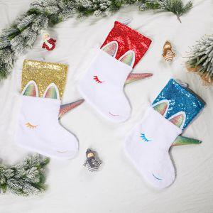 Unicorn Рождественский чулок Рождество висячие партия украшения Xmas конфеты держатель Большой прекрасный Sequined Unicorn носки BWF764