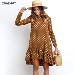 Chiffon Dress Autumn Winter Casual Loose Blue Long Sleeve Polka Dot Ruffle Dresses For Women Fashion 2020 Fall Clothes For Women0924