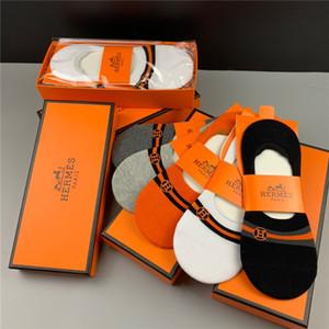 Hermès dei nuovi uomini di Thin estate ricamato Cotton Socks Sport calzini invisibili Low-side e cilindro corto calzini