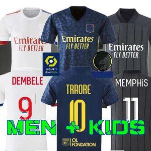 20 21 Лион футбол Джерси Дембеле 2020 2021 Olympique Lyonnais T.MENDES AOUAR ТРАОРЕ Men + Детский набор набор Лион Майо-де-футовый OL TOUSART