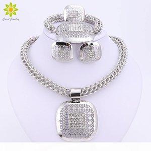Dubai Silber plattiert Feine Afrikanische Perlen Schmuck Sets Nigerian Hochzeit Zubehör Braut Kragen Kostüm Ohrringe Halskette Set