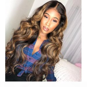 360 Colored Human Hair Wigs Deep Part Honey Blonde Highlighted Wigs Natural Wave Remy Preplucked Ombre Brown Lace Front Wig