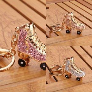 인기있는 다이아몬드 박힌 펜던트 신발 스케이트 롤러 스케이트 롤러 스케이트 열쇠 고리 여성의 스케이트 가방 펜던트 합금