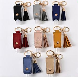 30ml дезинфицирующее бутылки и кисточкой кожаные рукава охватывают случаи 2 Piece Set Key Holder кольца Брелки Сумки Подвески студентов Keychain D9110