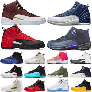 12 12s Université Jumpman Hommes Chaussures de basket-ball Gold Stone Bleu Flu Jeu royal Le Maître Gris foncé athletic sport Chaussures de sport Taille 40-47