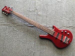 Custom 5 Strings Red Neck Thru Body Electric Bass Guitar Maple Body 26 frets Chrome Hardware China Made Bass Free Shipping