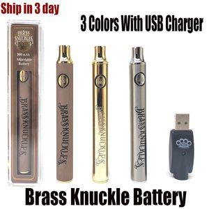 Brass Knuckles батарея предпусковой подогрев переменного напряжение 650mAh 900mAh E Cig батарея ручка для 510 Thraed густого масла Cartridge DHL Бесплатной доставки