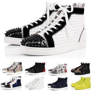 Christian louboutin red bottom shoes Top Quality Designer de Luxo Da Marca Red Bottoms Homens Mulheres Studded Spikes Flats Sapatos Amantes Da Festa de Casamento de Couro Genuíno Casual Sneakers