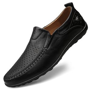 Italian Men Casual Shoes Summer Genuine Leather Men Loafers Slip on Men's Flats Breathable Male Driving Shoes