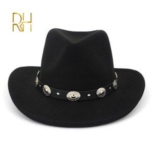 European US Wool Felt Jazz Fedoras with Belt Wide Brim Western Cowboy Hat Trilby Hats Party Formal Top Hat for Men Women RH