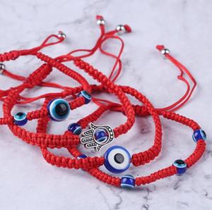 حار بيع 6 أنماط اليد سوار محظوظ سوار الأحمر سلسلة أساور موضوع الأزرق الشر سحر مجوهرات فاطمة الصداقة