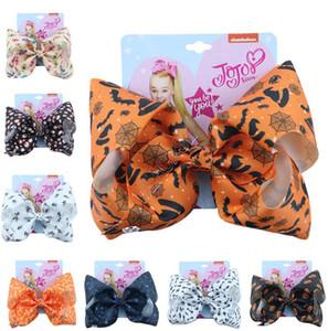 2020 Jojo Siwa enfants Hairpin 8 pouces Big Hair Bows Barrettes Halloween citrouille araignée fantôme pince à cheveux avec carte Coiffe Accessoires D82707