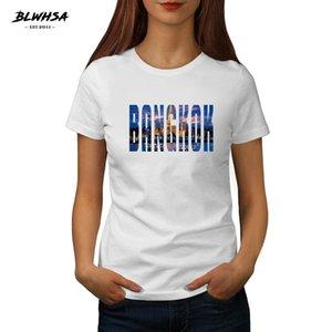 New Bangkok Imprimir camiseta Mulheres Tailândia Cidade Bangkok Moda em torno do pescoço de algodão Hip Hop camisetas T Feminino Funny T-shirt