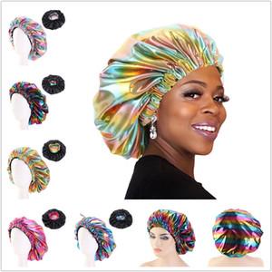 Kadınlar Uyku Şapka lazer gökkuşağı renkleri Saç için elastik yuvarlak kap Bandana Gece Uyku Turban duş başlığı Headwrap Afrika Bonnet Merkez Kapağı
