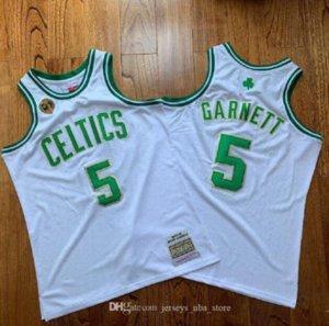 Männer Basketball BostonKelten5 Garnett 20 Alle Mitchell Ness 2007-2008 Weiß Grün Swingman Ärmel Jersey 07