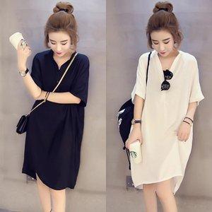 2020 Весна Nv FU Чжуан Чжуан Nv FU T- женской одежды больших размеров с короткими рукавами футболки летом одежда плюс плюс размер шифон рубашка топ