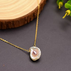 Linmouge 2020 New Nature Purple Pearly Mussel Pendant Chain Necklace For Women Vintage Luxury Bohemia Fashion Jewelry Gift FE16