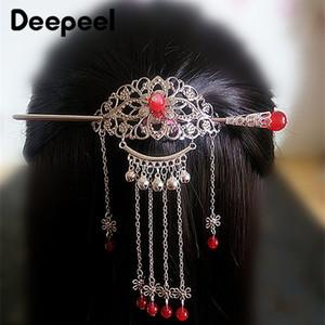 Deepeel 1SET Manuel Tassel Piques à cheveux Couvre-chef clip Ancient Chinese Hanfu Couvre-chef Décoration Bijoux Accessoires HA037