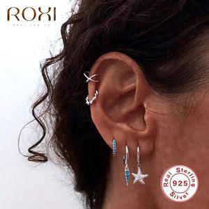 ROXI Cute Starfish Pendant Round Hoop Earrings for Women Kids Birthday Gift Earring 925 Sterling Silver Jewelry Pendientes Mujer