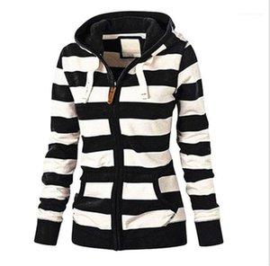 Womens Designer à rayures Sweats à capuche d'impression à manches longues Casual Zipper Hoodies Mode Vêtements Femmes Sweats à capuche couleur naturelle