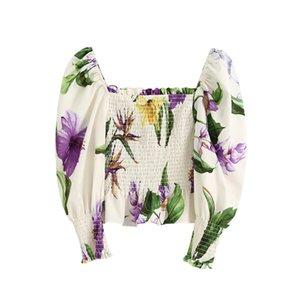 BLSQR Mulheres Doce cópia floral de culturas com folhos Blusas Moda manga Puff Elastic fêmeas Shirts Collar Praça Tops Chic