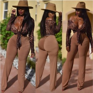 2020 Newest Autumn Clothing Women Two Piece Suits Leopard Sexy Lady Long Pant With Long Sleeve Tops Sexy Night Club Party 2Pieces Set A8242