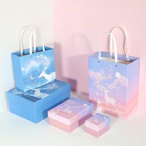 Elk романтично окрашенная комплект коробки подарка венчания украшения подарочной коробке упаковки душа ребенка партия новый год 2021 для Girlfriend / FAMI