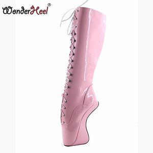 "Wonderheel Hot New ultra high heel 7"" wedges BALLET Knee high Boots sexy fetish pink heel boots ballet show lace up boot"